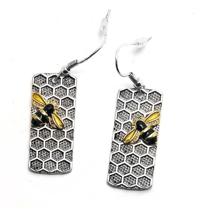 Antiqued Silver Honeycomb Drop Earrings with Enameled Bees