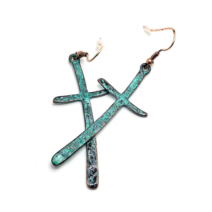 Curved Patina Cross Drop Earrings