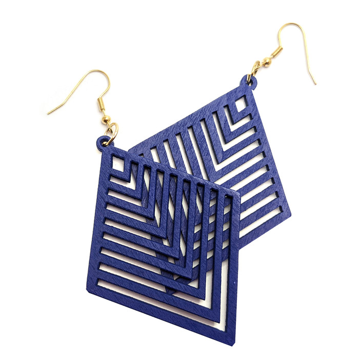 Lightweight Blue Wood Geometric Rhombus Drop Earrings