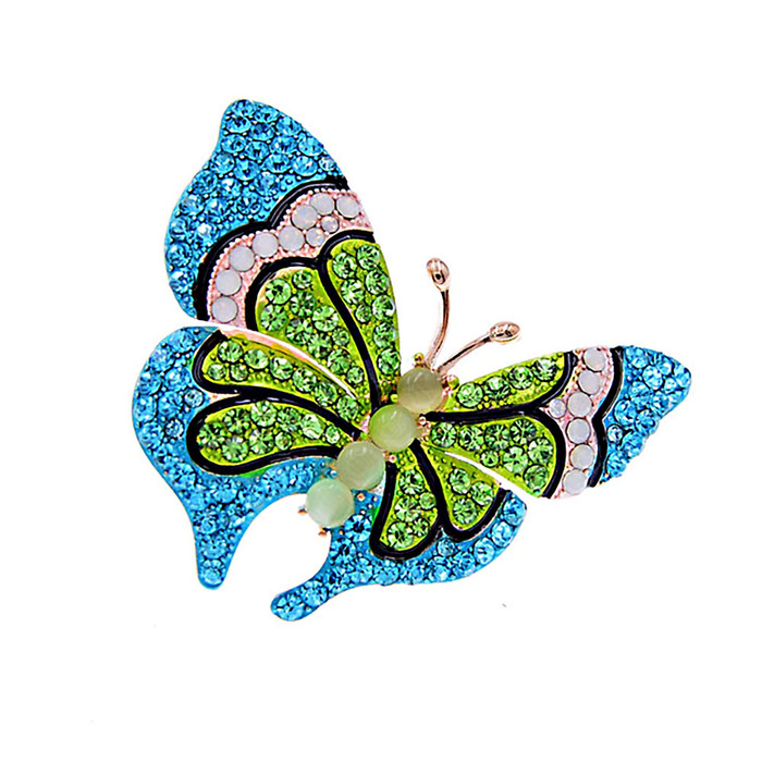 Blue and Green Crystal Butterfly Pin