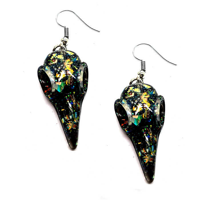 Clear Confetti and Black Acrylic Crow/Raven Skull Drop Earrings