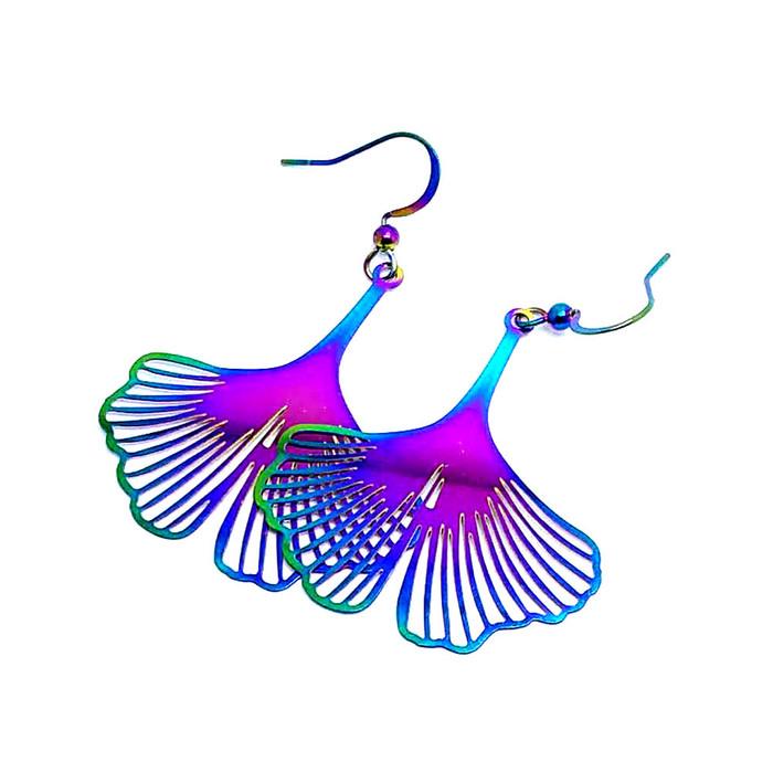 Feather-Light Rainbow-Effect Ginkgo Leaf Drop Earrings