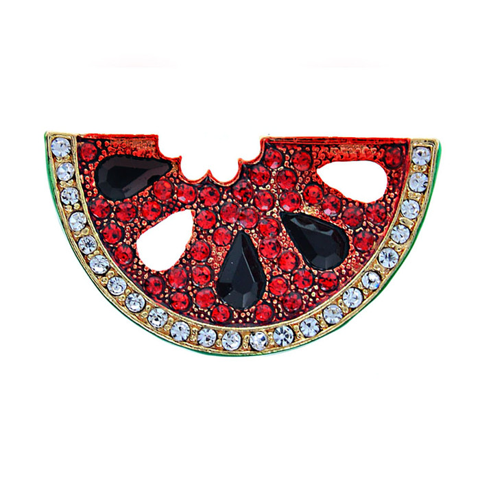 Bejeweled and Enameled Red Watermelon Slice Pin