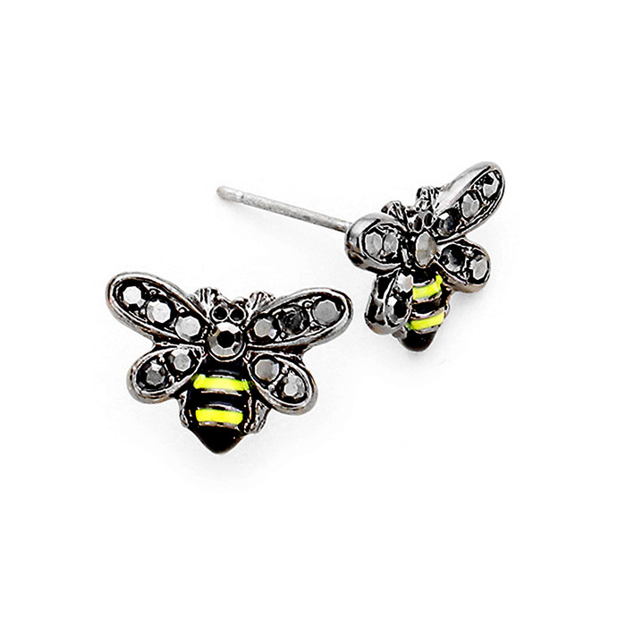 Tiny Gunmetal Bee Post Earrings with Enamel and Crystal Detail