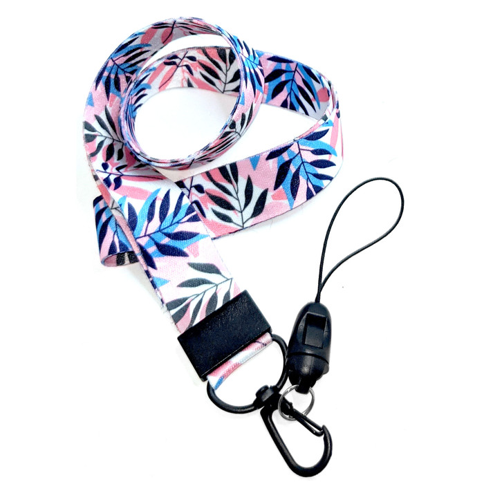 Tropical Leaves Fabric Lanyard [Black Clip] with 2 ID/Badge/Card Holders
