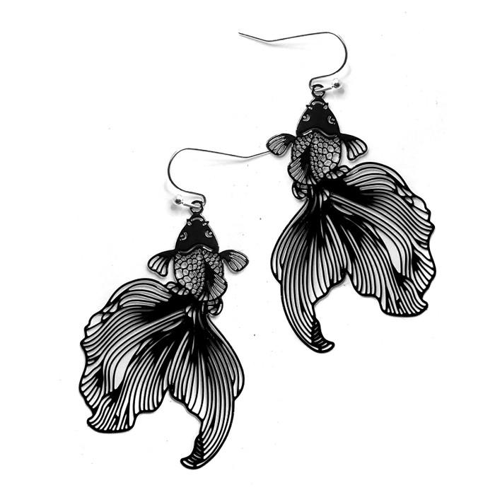 Feather-Light Black Koi/Goldfish Drop Earrings