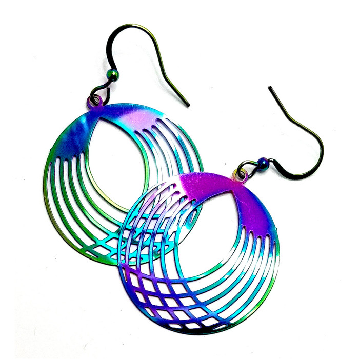 Feather-Light Rainbow-Effect Criss-Crossed Circle Drop Earrings