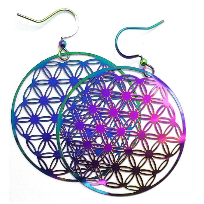 Feather-light Rainbow-Effect Mandala/Flower of Life Circle Drop Earrings…
