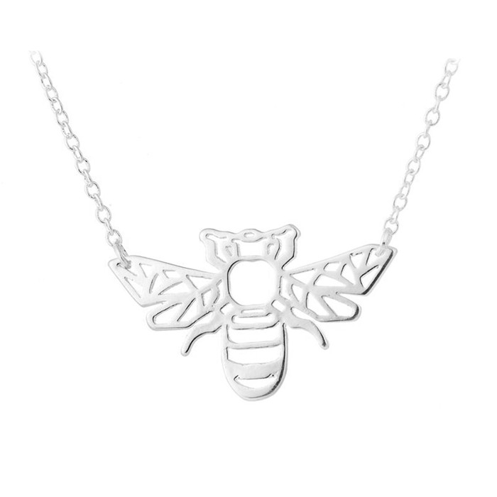 Silver Bumble Bee Outline Necklace