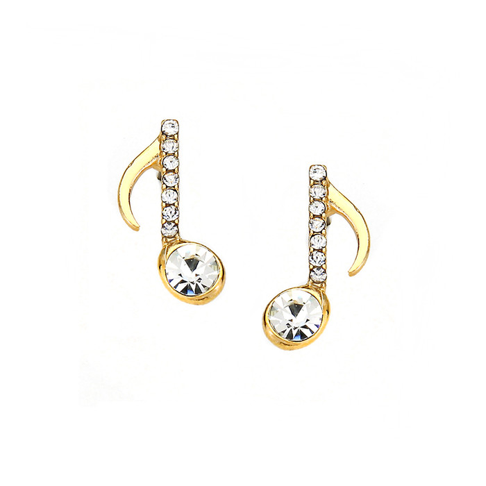 Golden Crystal Quarter Note Post Earrings