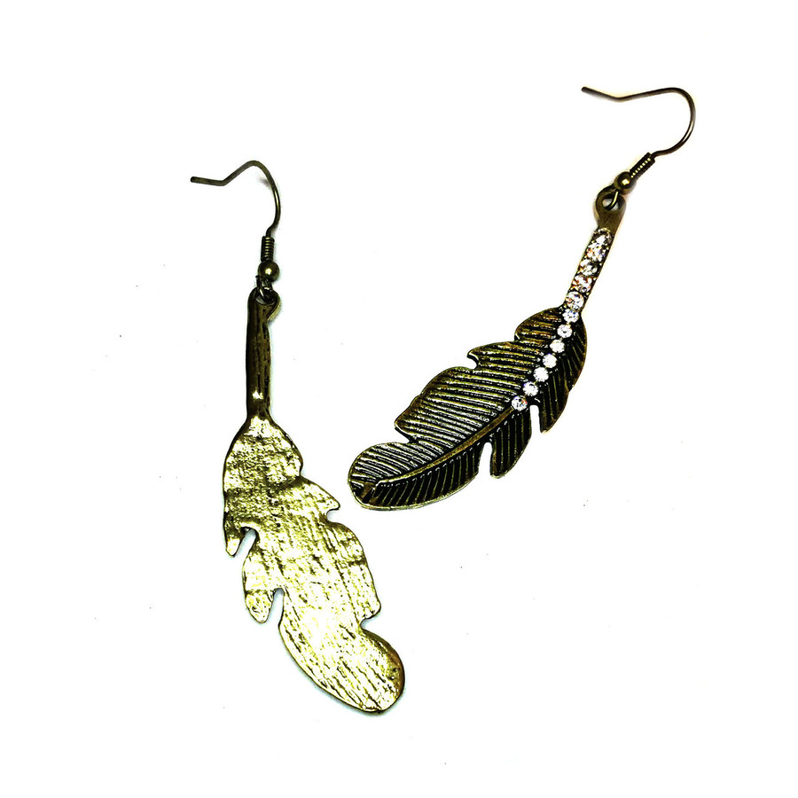 Antiqued Gold Feather Earrings with Crystals