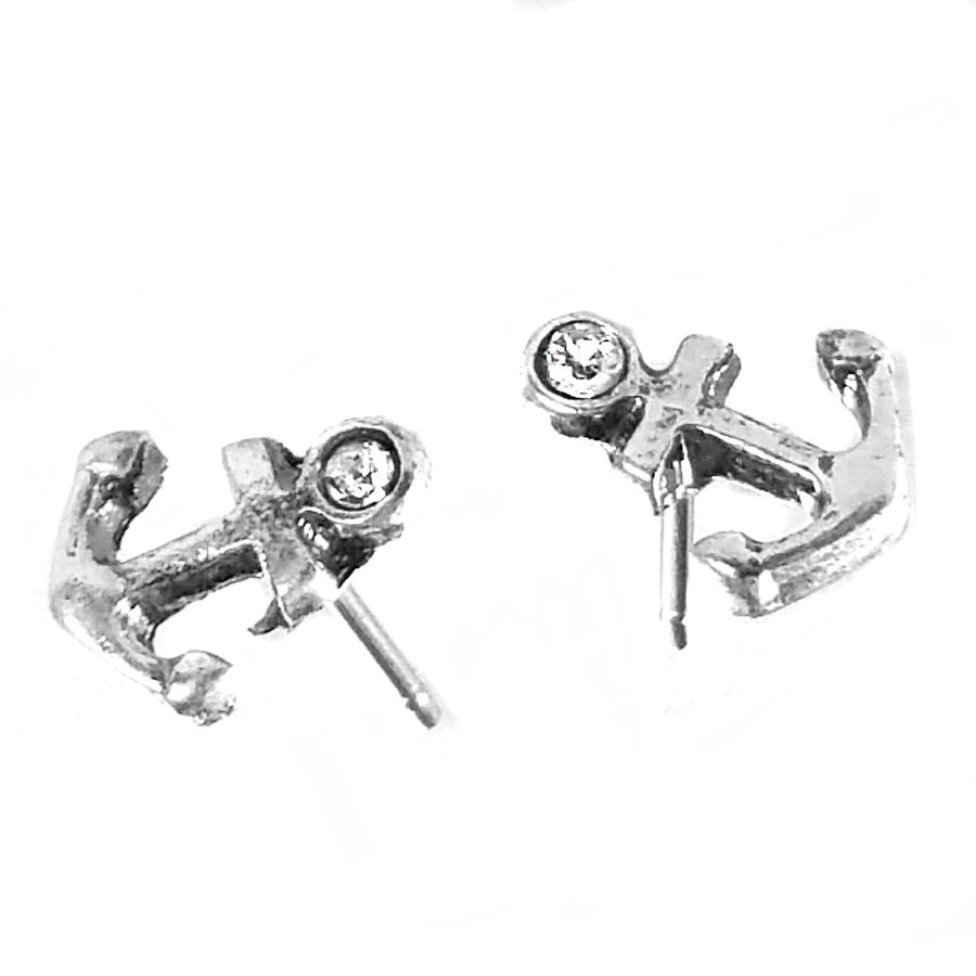 Mini Antiqued Silver Anchor Post Earrings with Crystal Detail