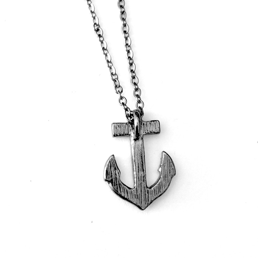 Gunmetal Crystal Anchor Necklace
