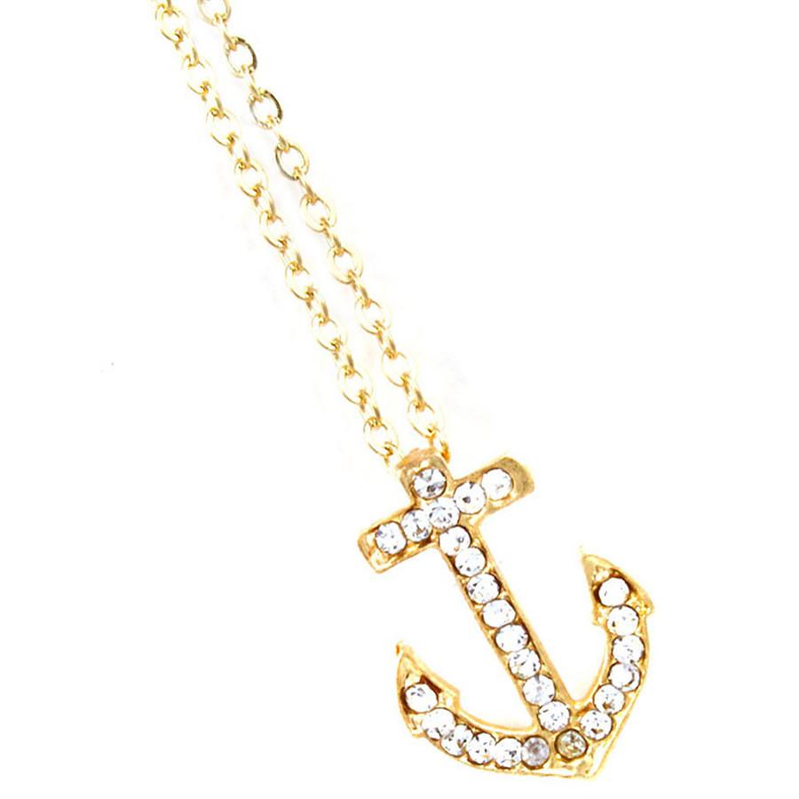 Golden Crystal Anchor Necklace
