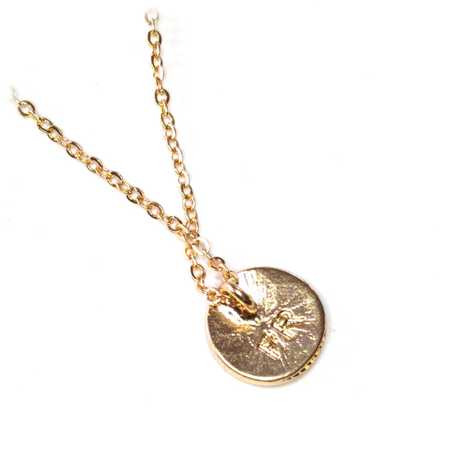 Golden Anchor Necklace with Red Enamel