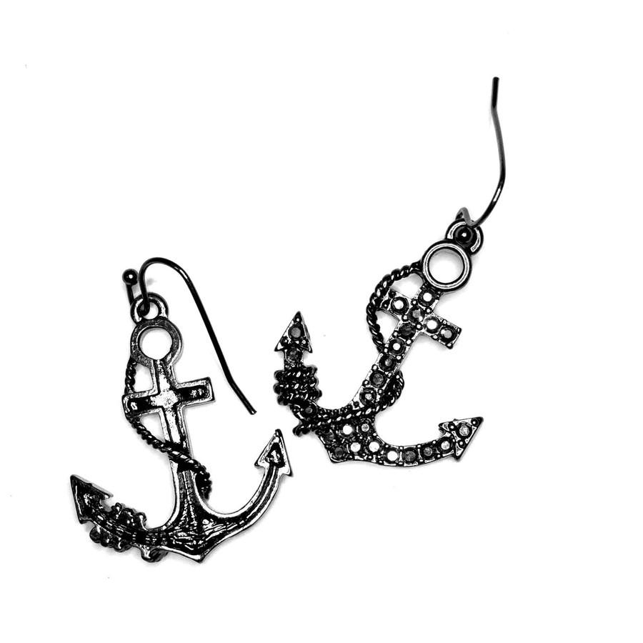 Gunmetal Bejeweled Anchor & Rope Drop Earrings