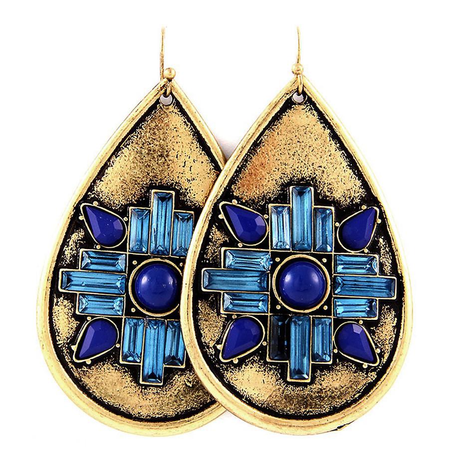 Large Bronze & Blue Southwest Design Teardrop Earrings
