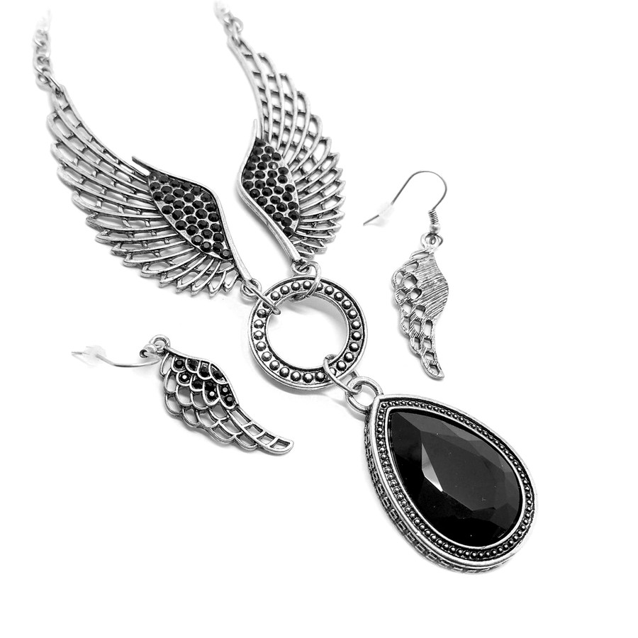 Black Angel Wing Necklace and Earring Set