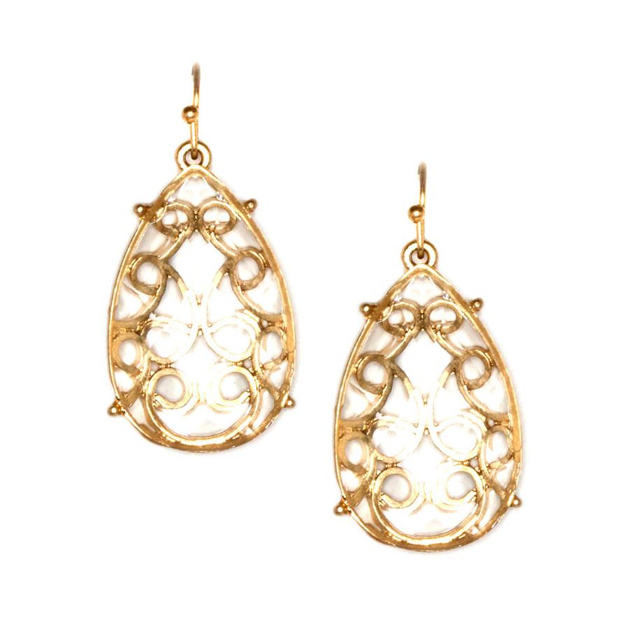 Golden Filigree Teardrop Earrings with Clear Stone Overlay