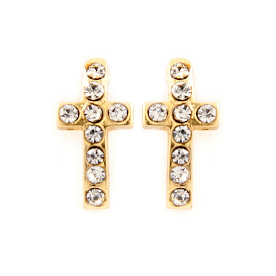 Mini Bejeweled Golden Cross Curved Post Earrings