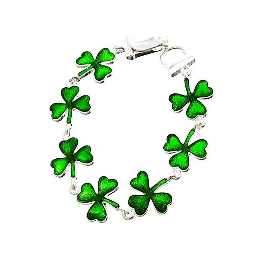 Enameled Green Shamrock/Clover Bracelet