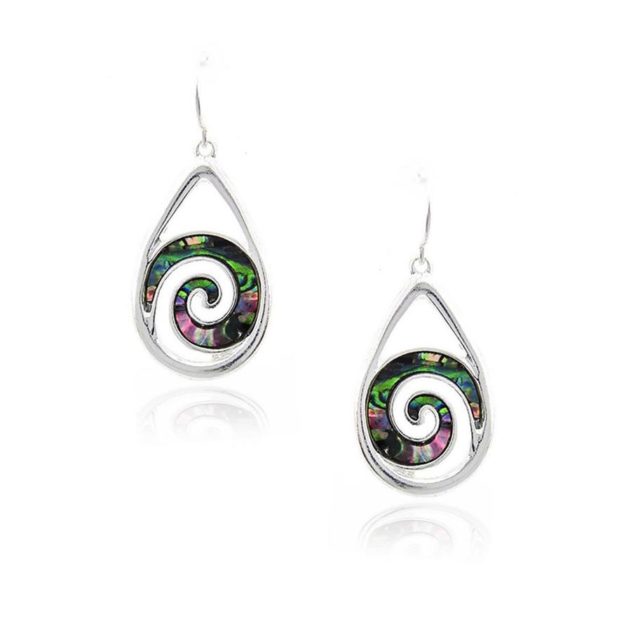 Silver Teardrop Drop Earrings with Abalone Spirals