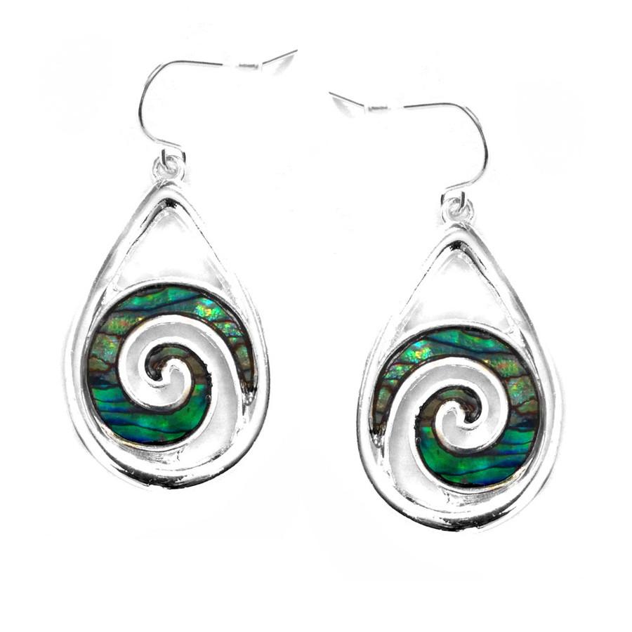 Silver Teardrop Earrings with Abalone Spirals
