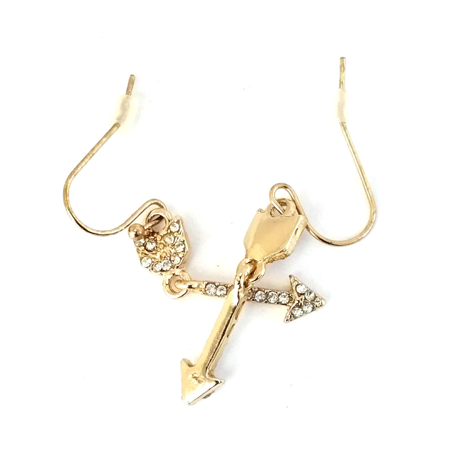 Bejeweled Golden Hinged Arrow Earrings