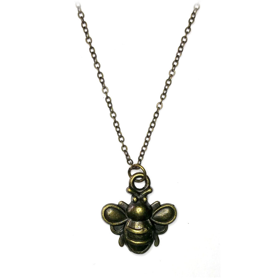 Antiqued Bronze Bumble Bee Necklace