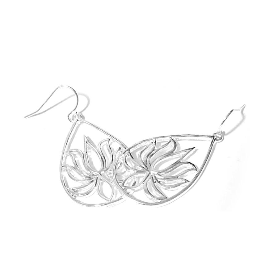 Silver Lotus Outline Teardrop Earrings