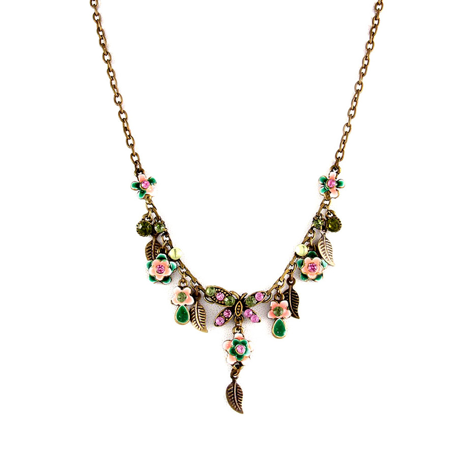 Antiqued Gold Bejeweled and Enameled Garden Charm Necklace