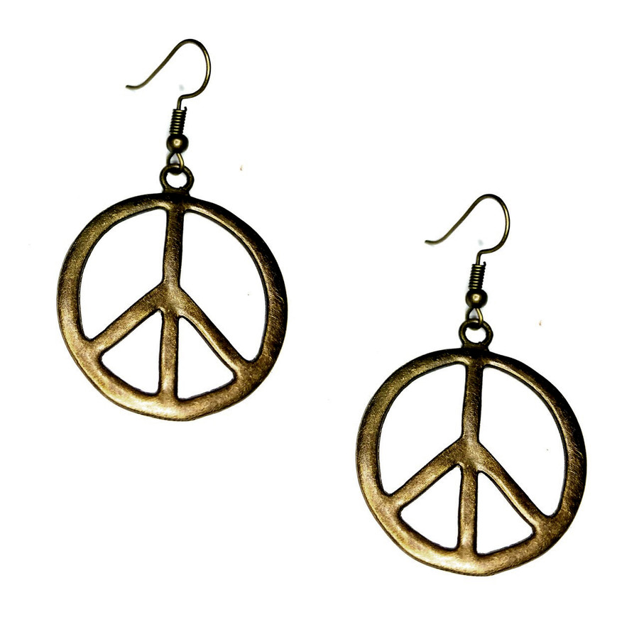 Antiqued Gold Peace Sign Drop Earrings