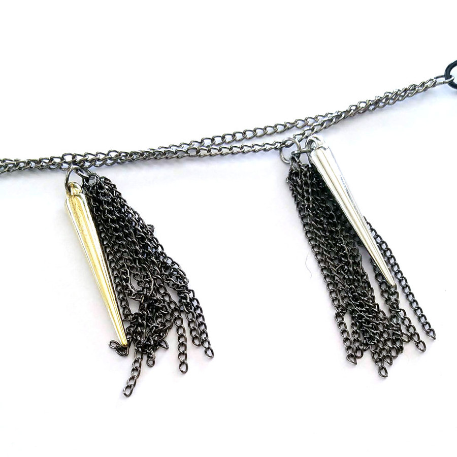 Long Multi-Chain Spike and Fringe Necklace