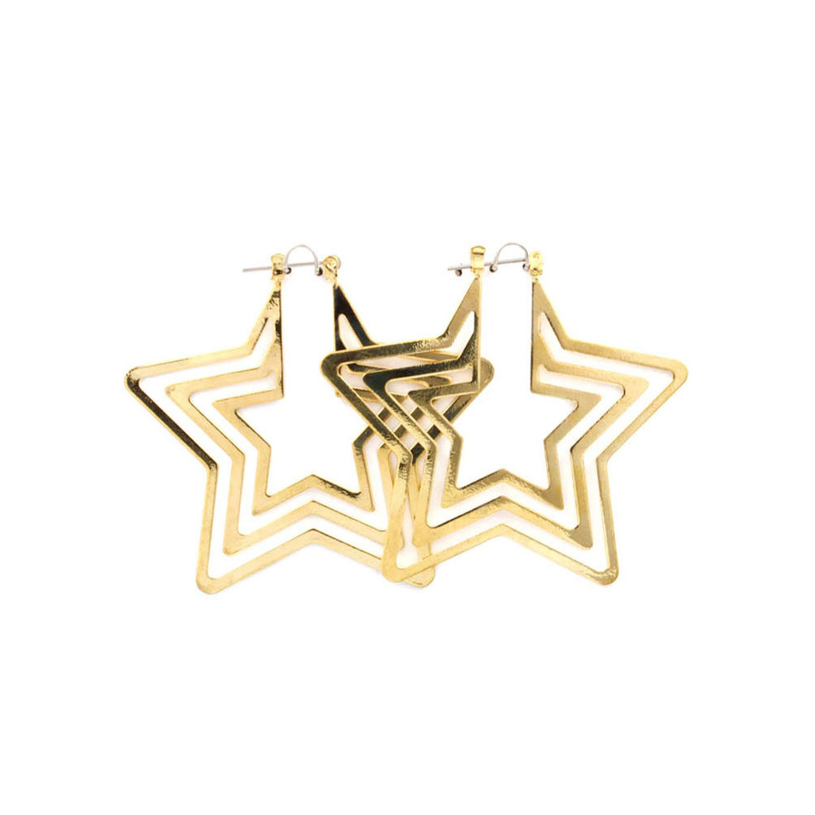 Pin-Catch Feather-Light Golden Star Earrings