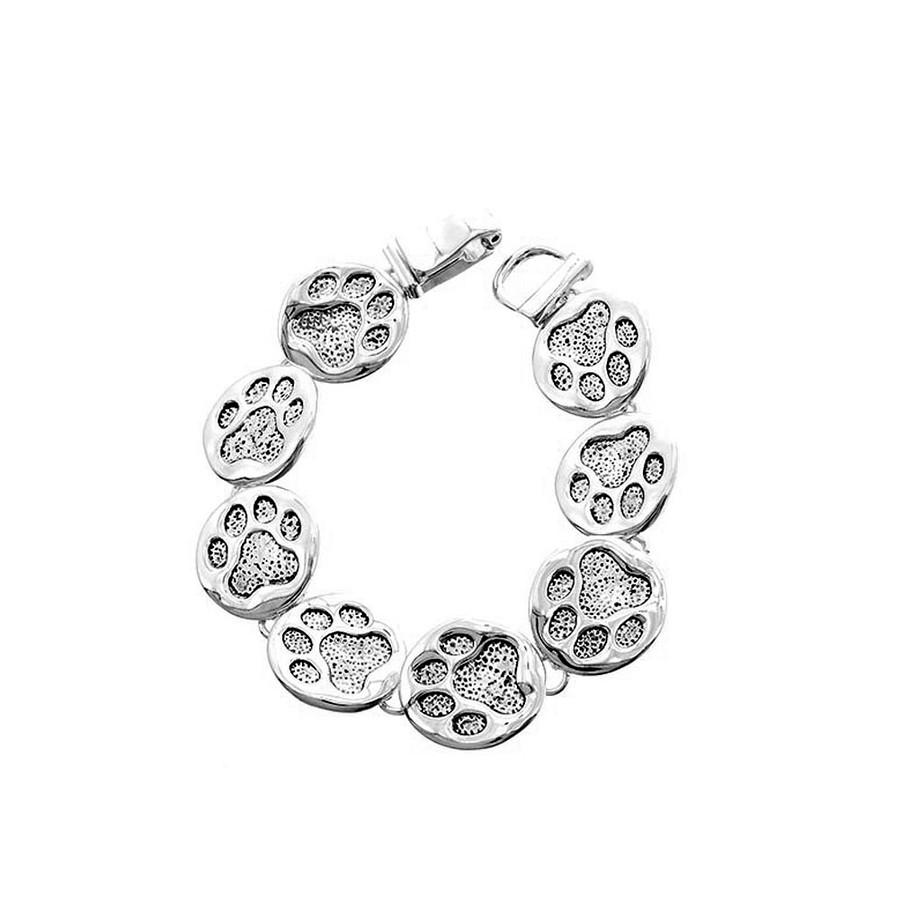 Antiqued Silver Paw Print Bracelet