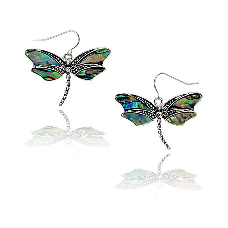 Antiqued Silver Dragonfly Drop Earrings with Abalone Inlay and Crystal Detail