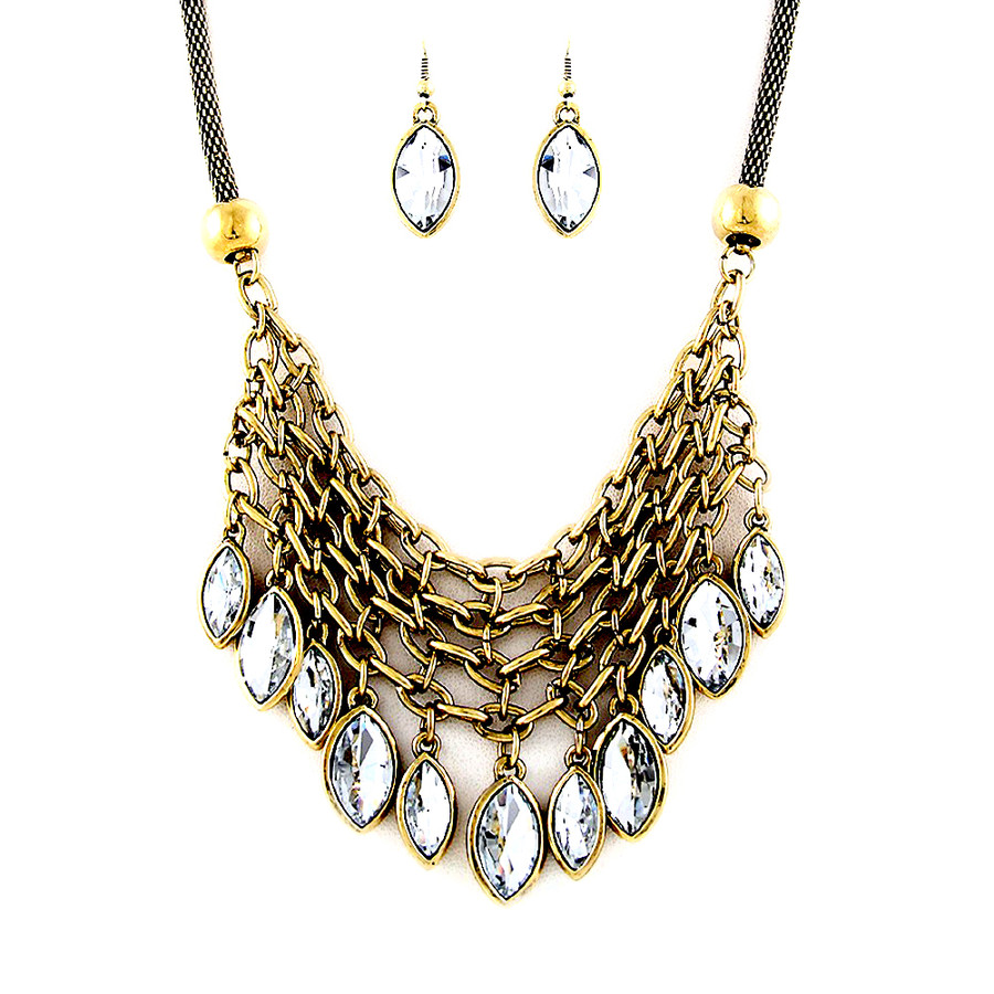Deluxe Marquis Chain-Fringe Necklace and Earring Set