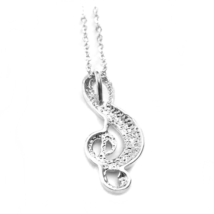Bejeweled Silver Treble Clef Necklace