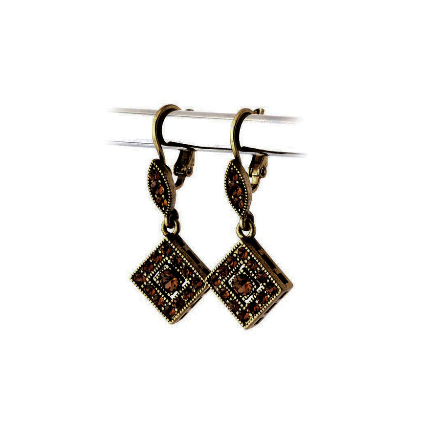 Antiqued Golden Austrian Crystal Leverback Earrings