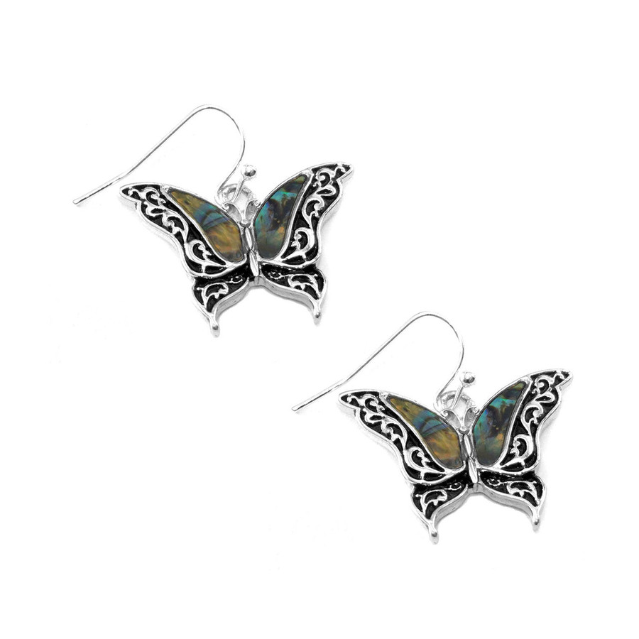 Antiqued Silver Filigree Butterfly Drop Earrings with Abalone Shell Inlay