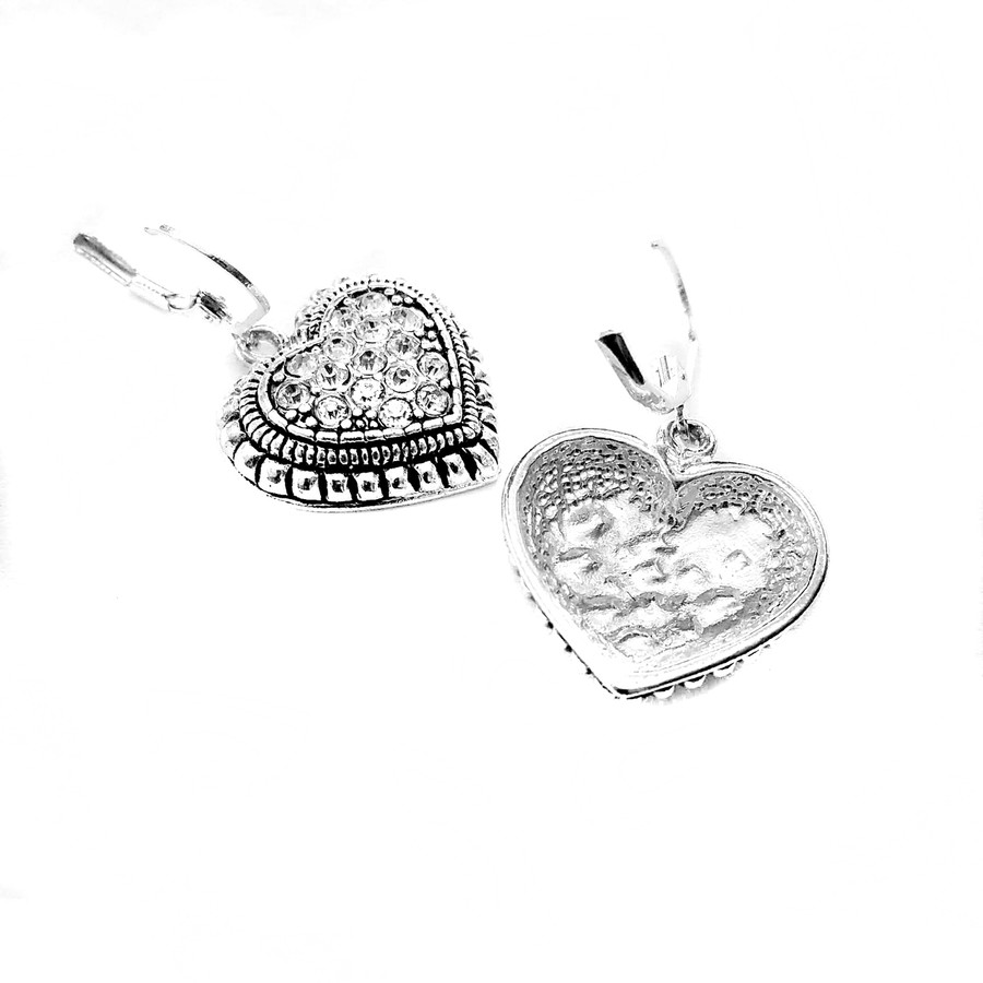 Antiqued Silver Heart Leverback Earrings with Crystal Center