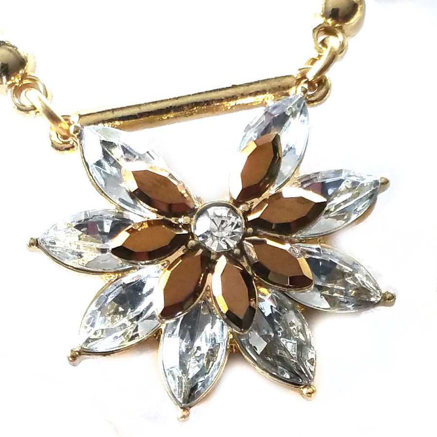Double Golden Crystal Sunburst Necklace