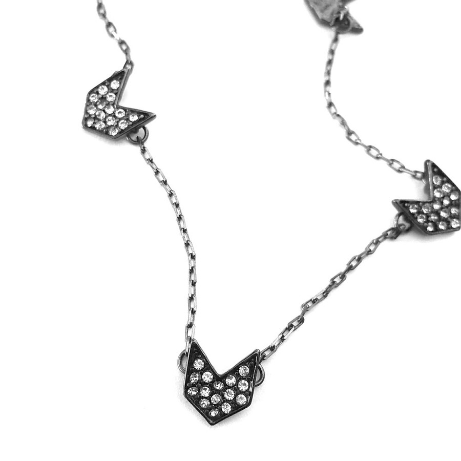 Gunmetal Necklace with Bejeweled Chevrons