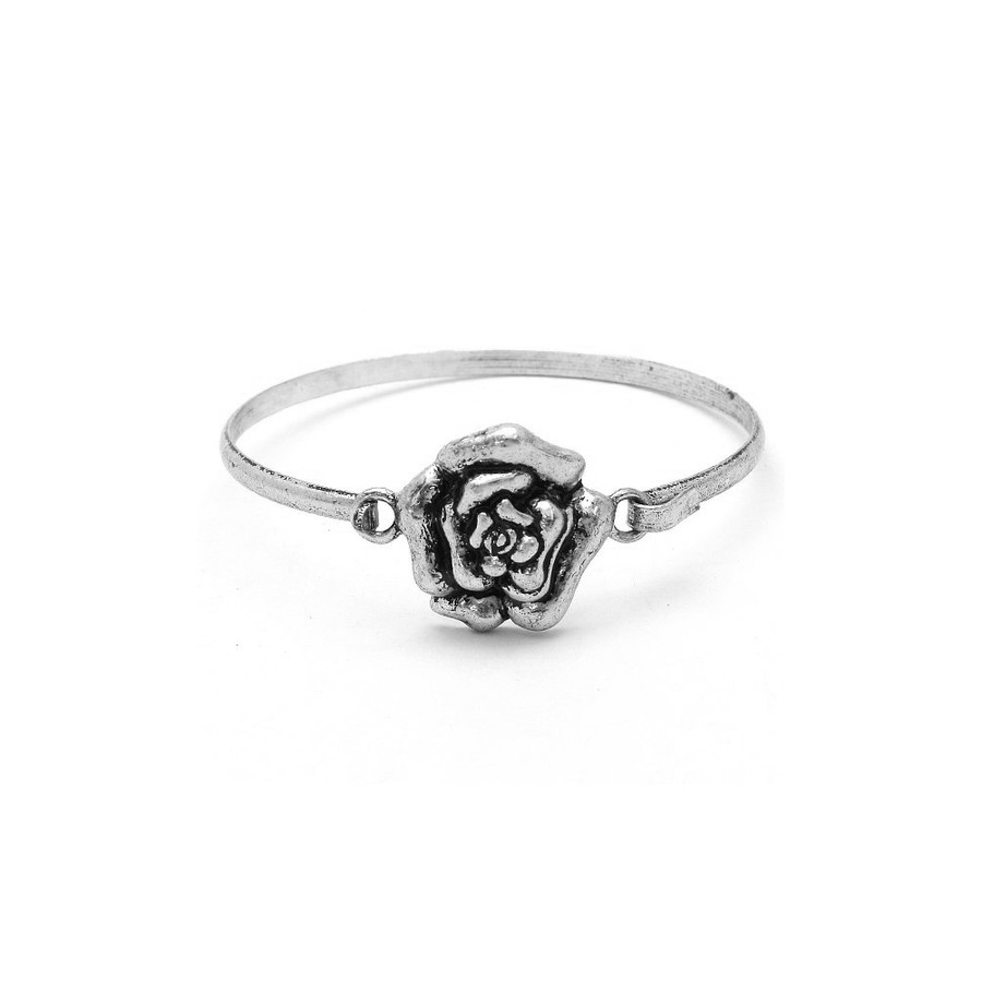 Antiqued Silver Rose Bangle