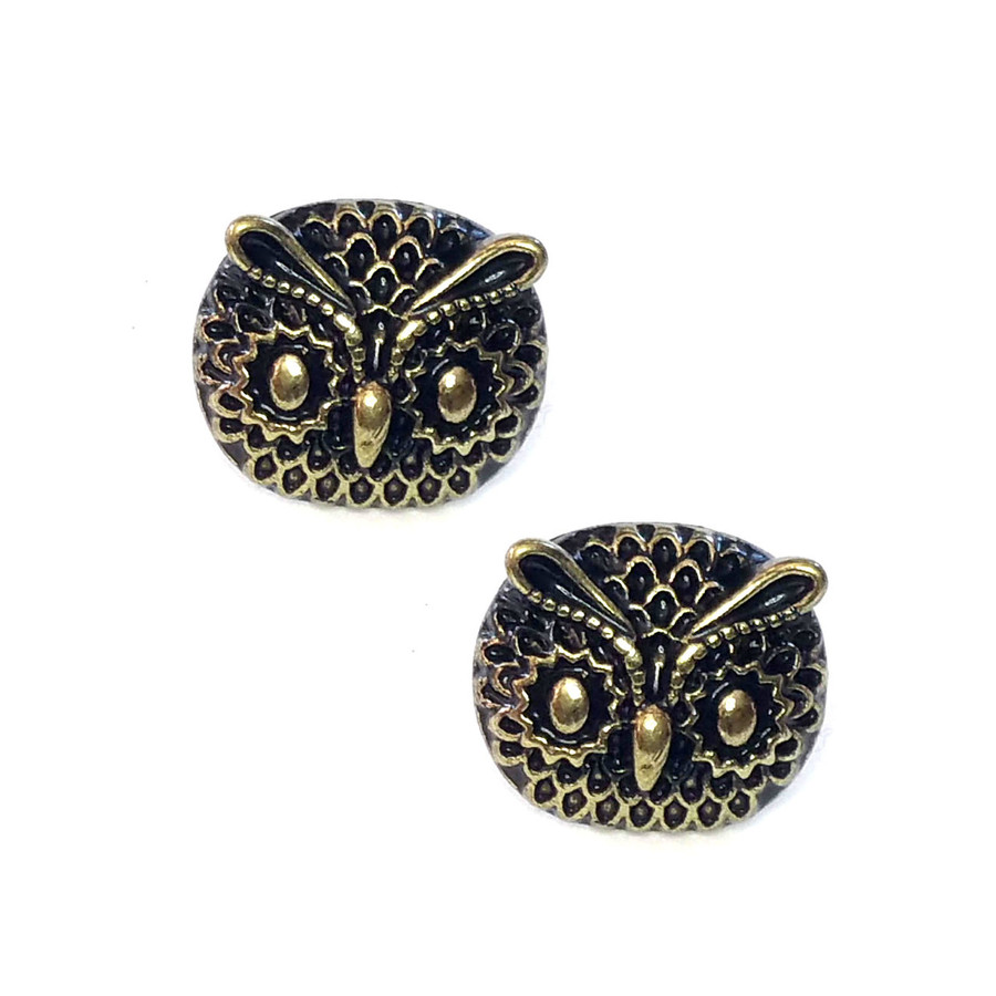 Antiqued Gold Owl Face Post Earrings