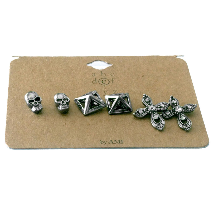 Antiqued Silver Trio Post Earring Set: Skull, Pyramid and Cross