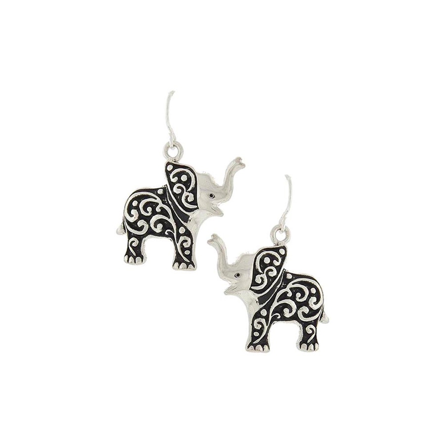 Antiqued Silver Filigree Elephant Drop Earrings