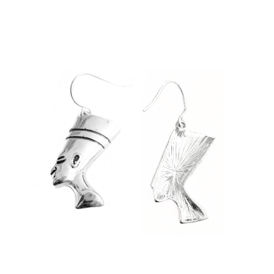 Shiny Silver Nefertiti Egyptian Drop Earrings