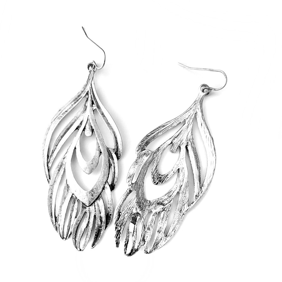 Silver Feather Outline Drop Earrings