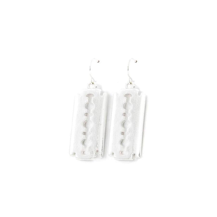 Silver Razor Blade Drop Earrings